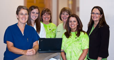In Kokomo, (from left to right) Michelle Haendiges, M.D.; Jen Hansen, nurse practitioner; and office staff members Laura Simms, Sharon Miller, Kim Burton and Deanna Willis are leading the way toward meaningful use of EHRs in Indiana.