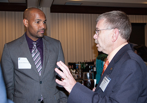 Jerome Adams, M.D., and Rep. Steve Davison, R-Salem